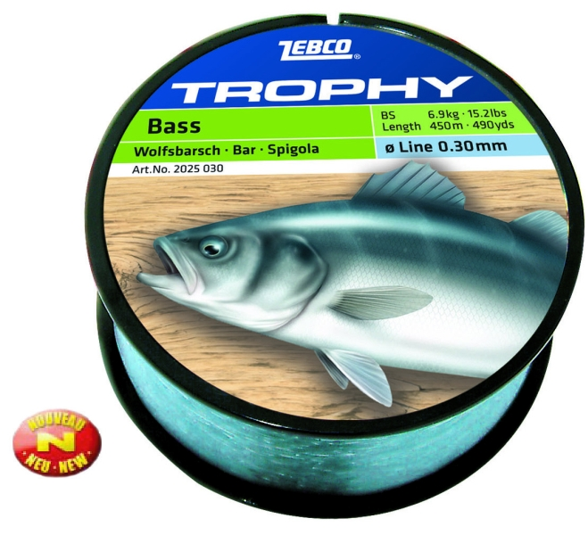 Vlasec ZEBCO Trophy Sea Bass 0,30mm/6,9kg/450m,modrý